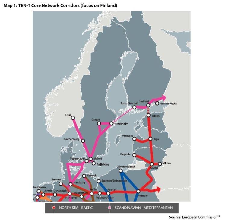 Map 1:TEN-T Core Network Corridors (focus on Finland)