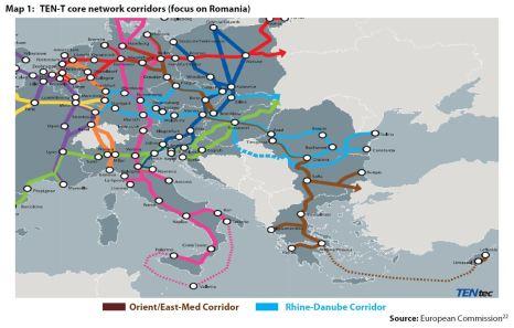 Map 1: TEN-T core network corridors (focus on Romania)