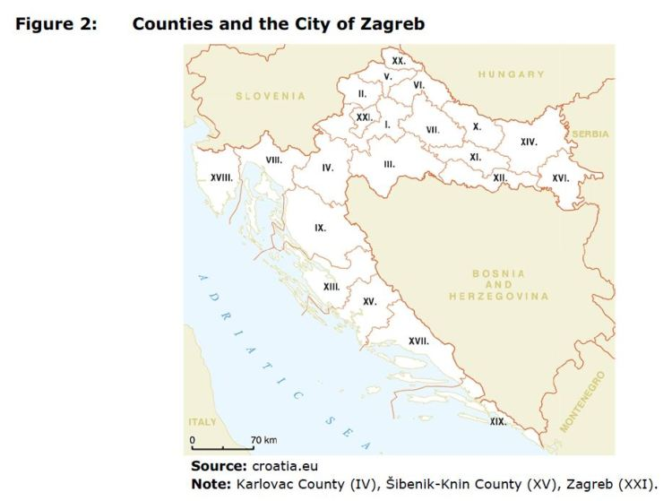 Figure 2: Counties and the City of Zagreb