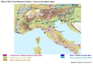 Map 2: TEN-T Core Network Corridors - Focus on the Alpine region