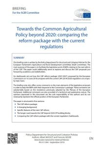 Towards the Common Agricultural Policy beyond 2020: comparing the reform package with the current regulations