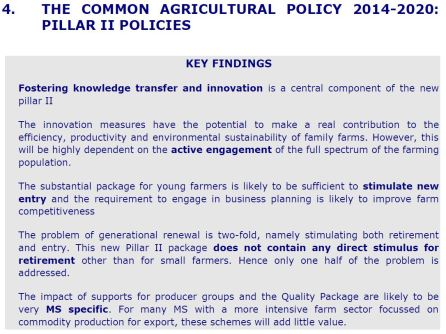 Key Findings - The common agricultural policy 2014-2020: pillar II policies