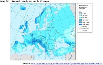 Map 5: Annual precipitation in Europe
