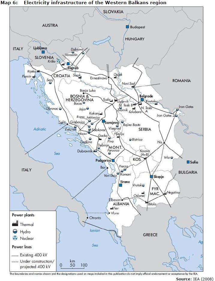 Map 6: Electricity infrastructure of the Western Balkans region
