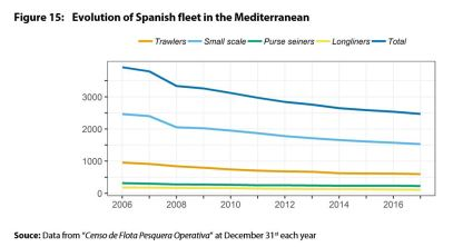 Evolution of Spanish fleet in the Mediterranean