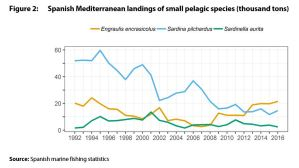 Spanish Mediterranean landings of small pelagic species (thousand tons)