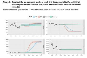 Results of the bio-economic model of catch (tn), fishing mortality (F1-3), SSB (tn) assuming constant recruitment (Rec) for M. merluccius under historical series and scenarios.