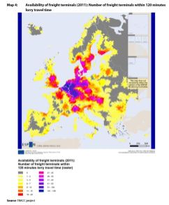 Map 4: Availability of freight terminals (2011): Number of freight terminals within 120 minutes lorry travel time