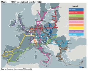 Map 6: TEN-T core network corridors (CNC)