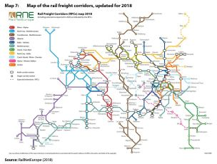 Map 7: Map of the rail freight corridors, updated for 2018