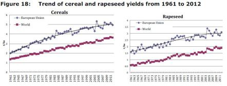 Figure 18: Trend of cereal and rapeseed yields from 1961 to 2012