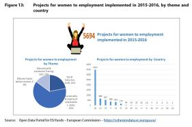 Figure 13: Projects for women to employment implemented in 2015-2016, by theme and country