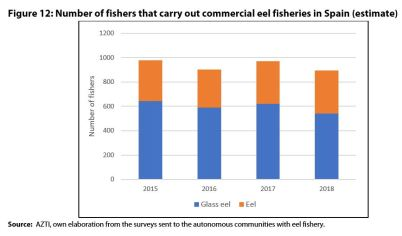 Figure 12: Number of fishers that carry out commercial eel fisheries in Spain (estimate)