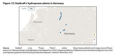 Figure 15: Statkraft's hydropower plants in Germany