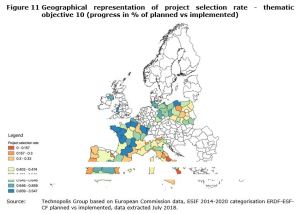 Figure 11 Geographical representation of project selection rate - thematic objective 10 (progress in % of planned vs implemented)