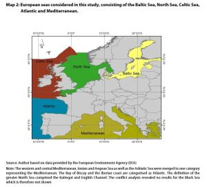 Map 2: European seas considered in this study, consisting of the Baltic Sea, North Sea, Celtic Sea, Atlantic and Mediterranean.