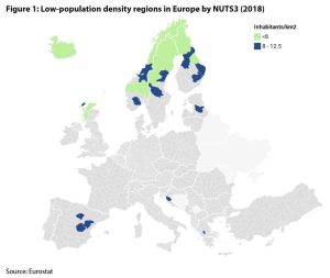 Figure 1: Low-population density regions in Europe by NUTS3 (2018)