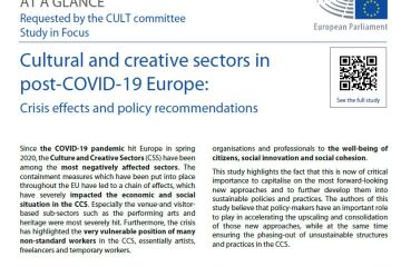 At a glance: Cultural and creative sectors in COVID-19 Europe: Crisis effects and policy recommendations