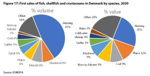 Figure 17: First sales of fish, shellfish and crustaceans in Denmark by species, 2020
