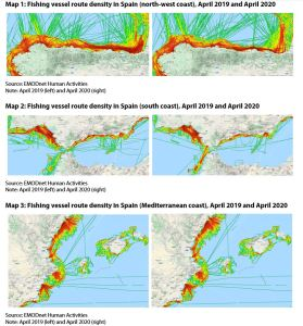 Map 1: Fishing vessel route density in Spain (north-west coast), April 2019 and April 2020Map 2: Fishing vessel route density in Spain (south coast), April 2019 and April 2020 Map 3: Fishing vessel route density in Spain (Mediterranean coast), April 2019 and April 2020