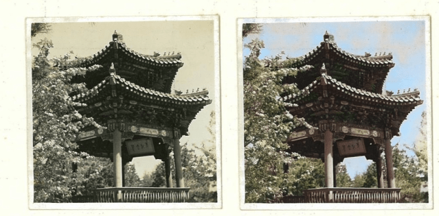 Comparison of a black and white photograph next to the same photograph colorized by AI