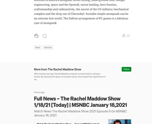 Junk text meets Maddow boilerplate in screenshot of Medium spam site.
