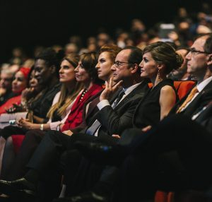 2016WCC Opening Ceremony, (from left to right: Princess Dina Mired from Jordan, President-elect of UICC; the French Minister of Health, Marisol Touraine; Princess Lalla Salma from Morocco; the President of France, François Hollande; Queen Letizia of Spain; and Tezer Kutluk, Immediate-past President of UICC)