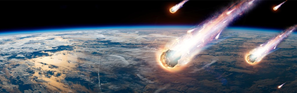 graphic of comets falling to Earth