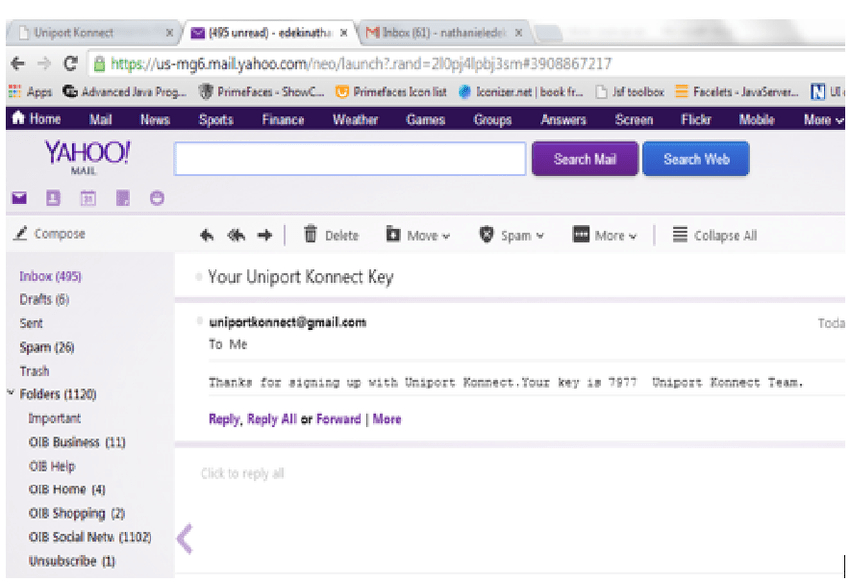 Yahoo Mail Message Showing Content Of Validation Mail Sent