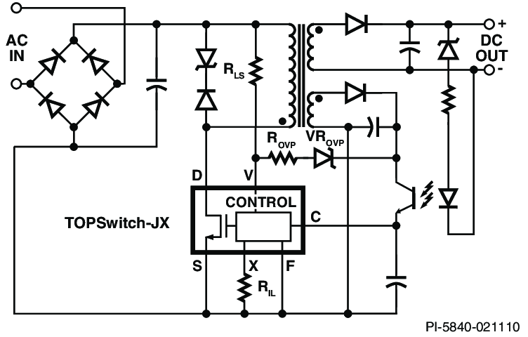 Typical TOPSwitch-JX Flyback Power Supply With Primary