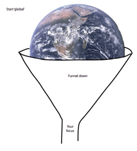 The world being pushed into a funnel shape