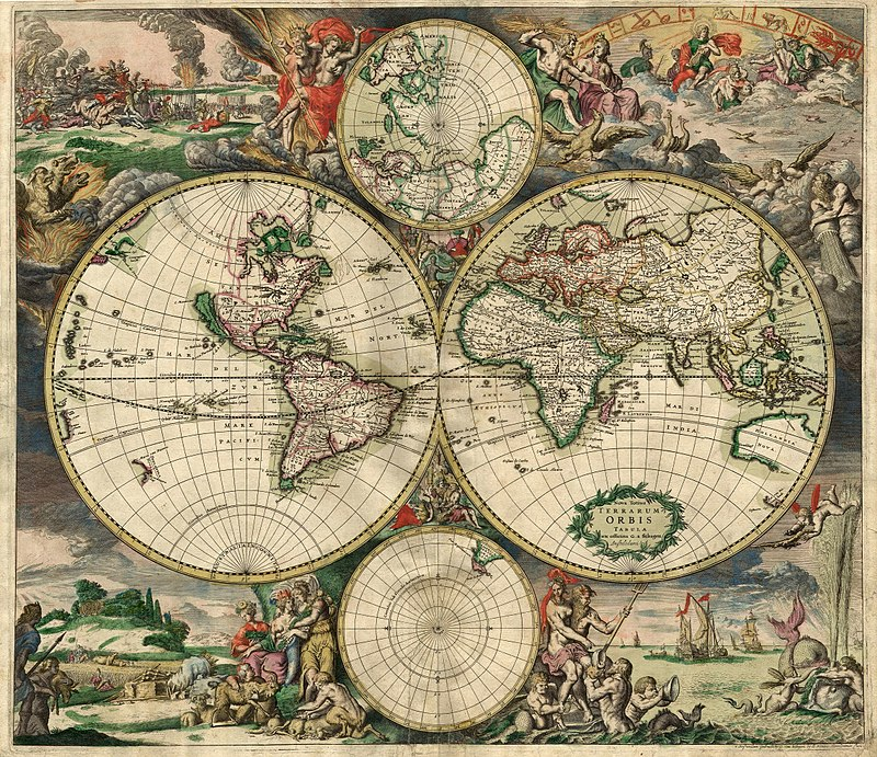Historical map, showing the North Pole; the Americas; Europe, Africa, Asia, Australia; the South Pole. Images of war on earth and heaven around the borders on top; and peace at sea and land below.