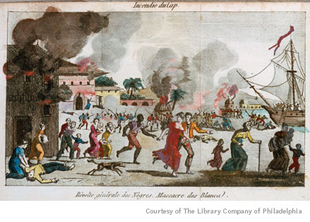 Illustration shows burning of Le Cap, Haiti, and massacre of whites during Haitian War of Freedom. (Incendie du Cap. Révolte générale des Nègres. Massacre des Blancs. Frontispiece from the book Saint-Domingue, ou Histoire de Ses Révolutions. ca. 1815. Paris - Chez Tiger. ).