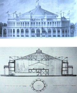 J. I. Hirtoff, Rotonda dei Panorama a Champ Elyséè, prospetto e sezione, da Reveue Générale de l'Architecture, 1841
