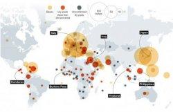 Bases militaires US à l'étranger, 2015. Source : Politico.