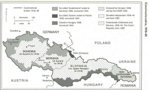Carte historique de la Tchécoslovaquie (1918-1992)