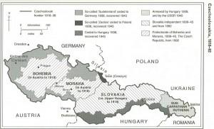 Carte historique de la Tchécoslovaquie en 1918-1992. La Ruthénie subcarpathique est marquée dans la partie orientale du pays.