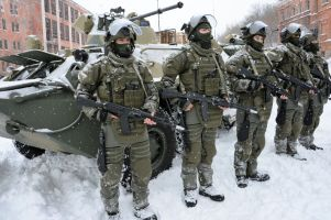Assault battalion of Russian army's engineer force conduct military exersize