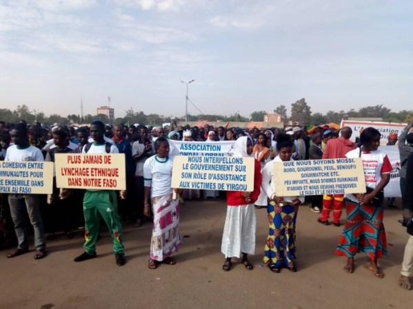 Le 12 janvier, quelques jours après les événements de Yirgou, les Burkinabè ont manifesté à Ouagadougou en soutien aux victimes.  Crédit photo : le Faso.net.