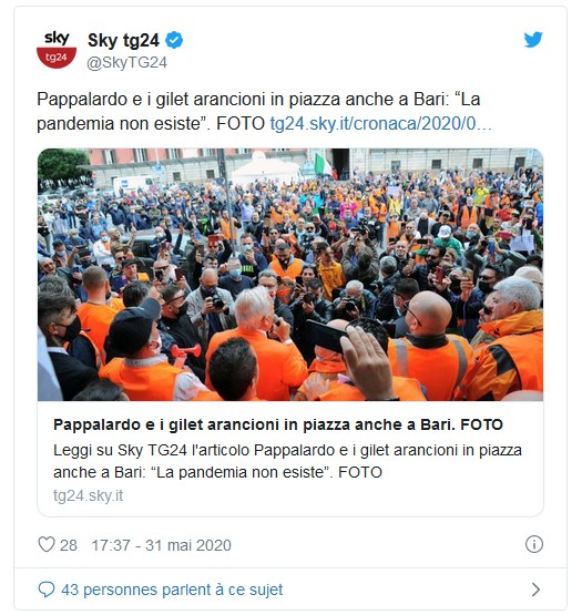 Italie – Qui sont ces Gilets Oranges anti-euro et « corona-sceptiques » ?