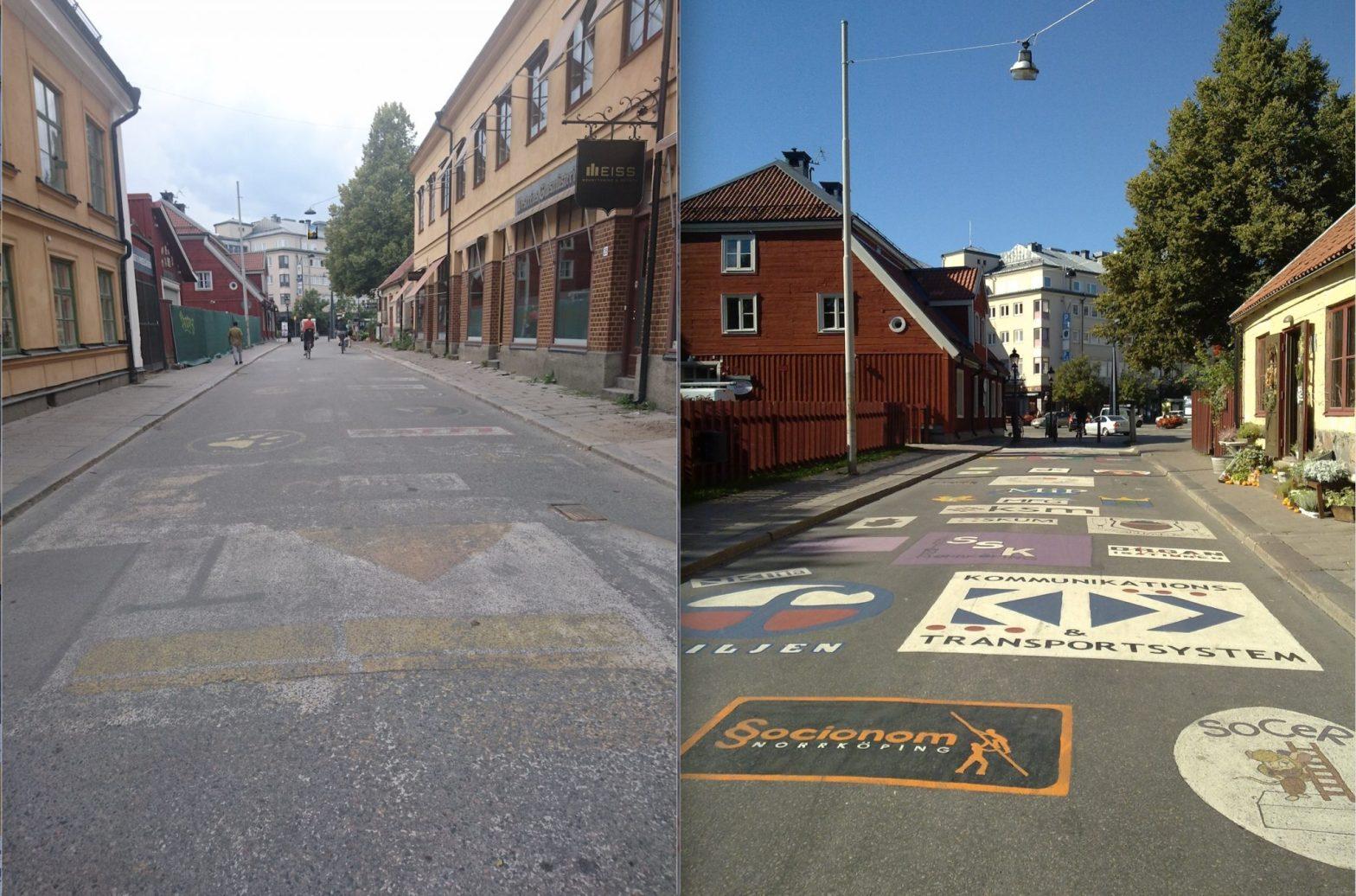 Då och nu Västgötegatans gatumålningar 2009/ 2018