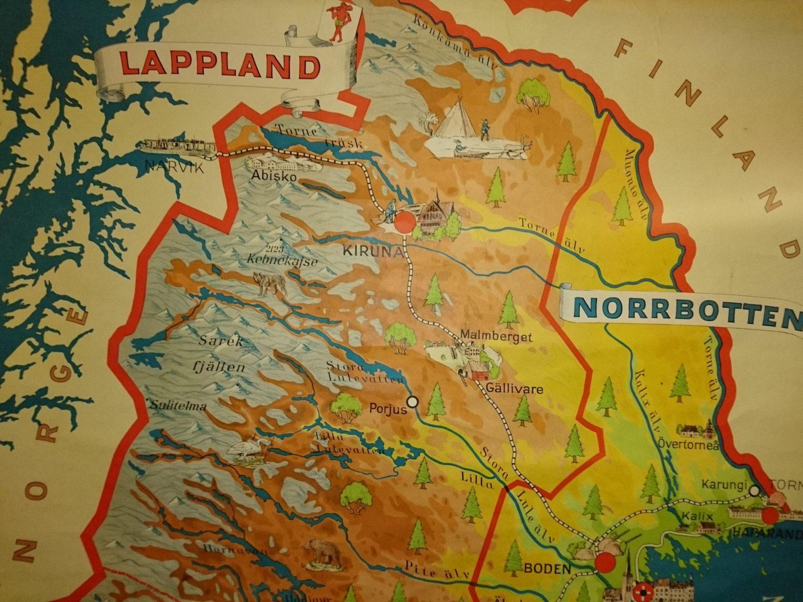 Karta över norra Norrland