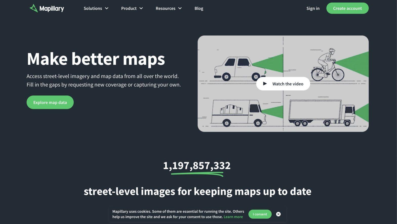 Skärmdump av Mapillarys webbplats juni 2020