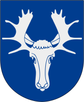 Östersund vapen: By Marmelad - Made by Marmelad after the blasoning..Head: From Image:Herb Polkozic.jpgAntlers: From Image:Åre vapen.svgThe source code of this SVG is valid.This vector image was created with Inkscape, andthenmanuallyaltered., CC BY-SA 2.5, https://commons.wikimedia.org/w/index.php?curid=2913260