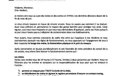 Courrier d'information n°8 aux résidents et aux familles des RVO