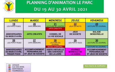 Le Parc – programme d'animation du 19 au 30 avril 2021