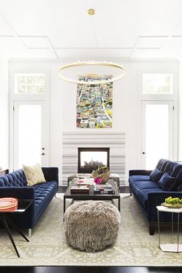 21 Different Style To Decorate Home With Blue Velvet Sofa Ann Lowengart Interiors Modern Living Room in Norcal blue velvet sofas and  quartz lined chandelier