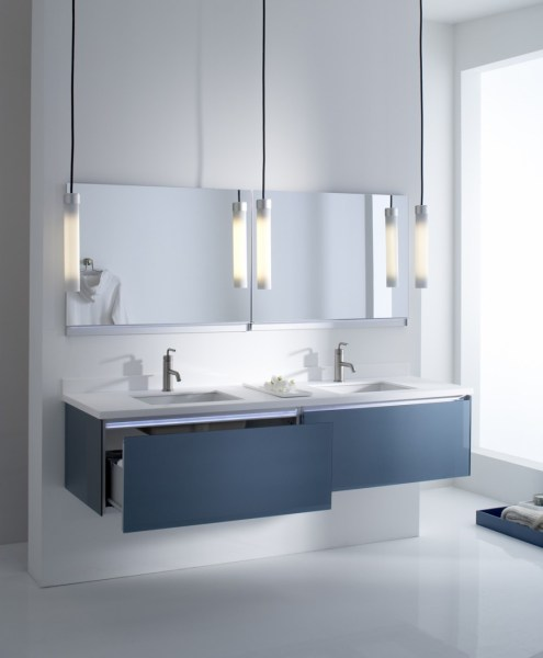Changing the Bathroom Cabinets for a Completely New Look Tranquil Vanity Style Glass Bathroom Cabinets