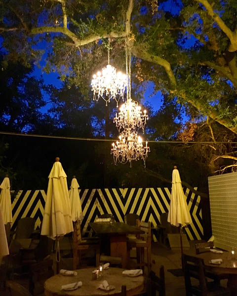 hanging chandeliers - Malibu Cafe at Calamigos Ranch