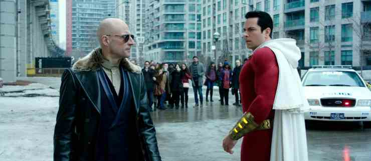 Dr. Thaddeus Sivana (Mark Strong) and Shazam! (Zahery Levi) - Shazam Review
